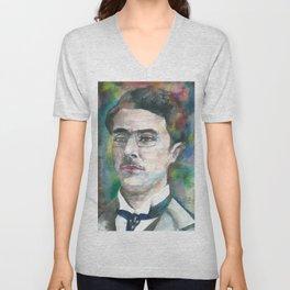 FERNANDO PESSOA - watercolor portrait.3 Unisex V-Neck