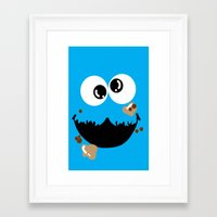 cookie monster Framed Art Prints featuring Cookie Monster  by Lyre Aloise