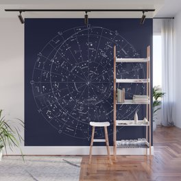 Constellation Map Indigo Wall Mural