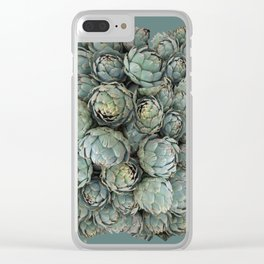 Archie talks (Artichokes) in teal Clear iPhone Case