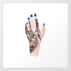Modern watercolor hand  floral henna tattoo blue nails Art Print