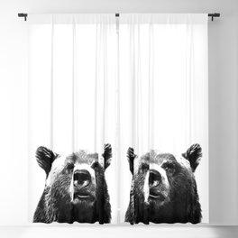 Black and white bear portrait Blackout Curtain