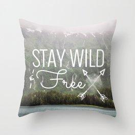 Stay Wild & Free - Alaska Waterfalls Throw Pillow