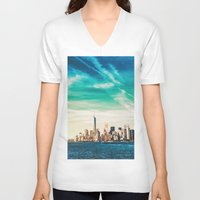 skyline V-neck T-shirts featuring NYC Skyline by Vivienne Gucwa