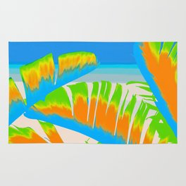 Tropical Colored Banana Leaves Design Rug