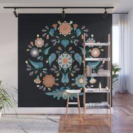 Ornamental round flower pattern Wall Mural