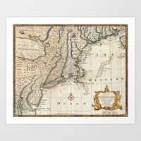 New England Ancient Map (1747) Art Print