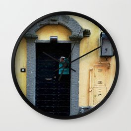 Door in Italian Village Wall Clock