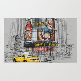 Daffys New York City Yellow Cab original sketch Rug