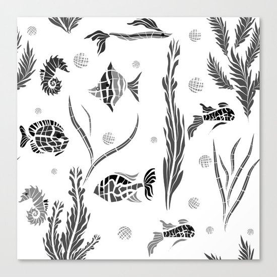 Black and white pattern. Fish . Canvas Print
