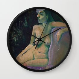 Woman with Crown, Oil on Wood Wall Clock