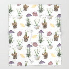 Mushrooms, spurge, horsetail, lily of the valley, leaves. Throw Blanket