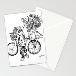 Bicycle Flower Seller in Hanoi in Pencil Stationery Cards