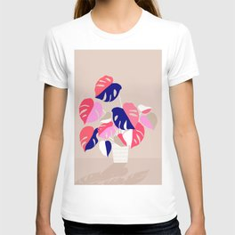 Monstera Deliciosa Plant in blue and pink T-shirt