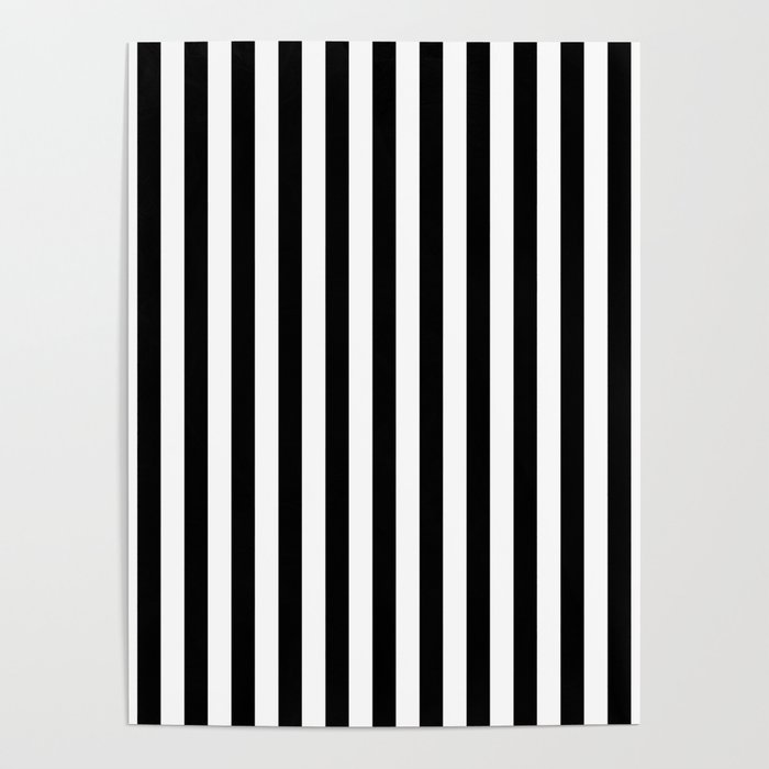 Stripe Black & White Vertical Poster