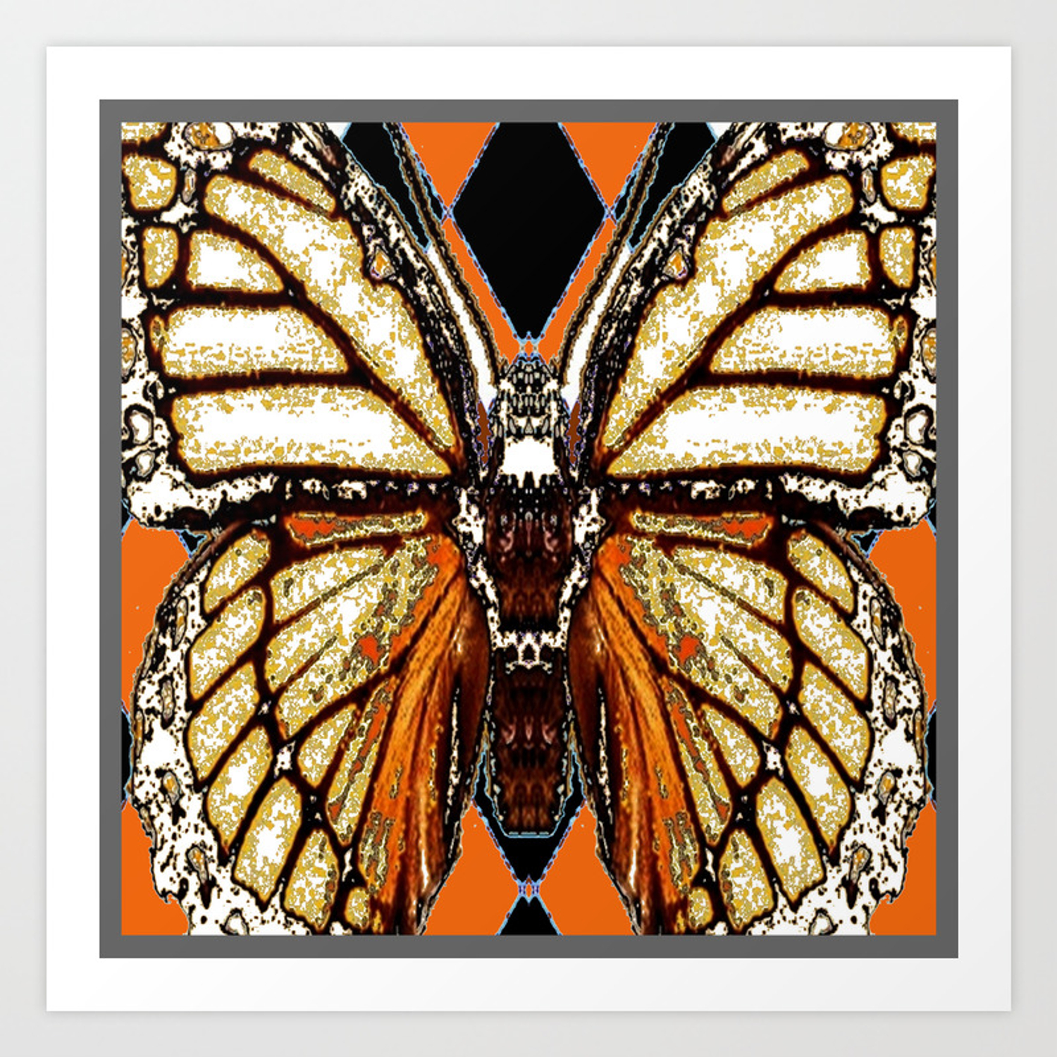 Ribbed White Brown Black Butterfly Wing Veins Art Print By