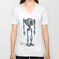 robot V-neck T-shirts featuring Robot by Steve Thorpe