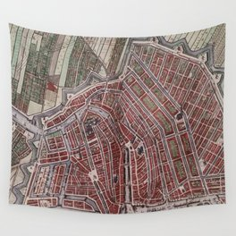 Replica city map of Amsterdam 1652 Wall Tapestry