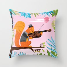 Red Squirrel Serenade Throw Pillow