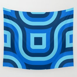 Blue Truchet Pattern Wall Tapestry