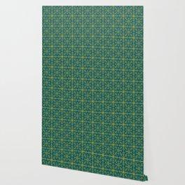 Emerald Green Triangles Pattern Wallpaper