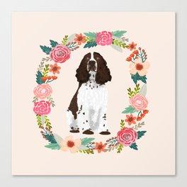 english springer spaniel dog floral wreath dog gifts pet portraits Canvas Print