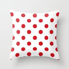 Polka Dots - Fire Engine Red on White Throw Pillow