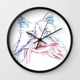 Fluffy Tuxedo Cat Wall Clock