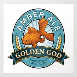 Golden God Amber Ale label Art Print