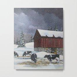 Holstein Dairy Cows in Snowy Barnyard; Winter Farm Scene Metal Print
