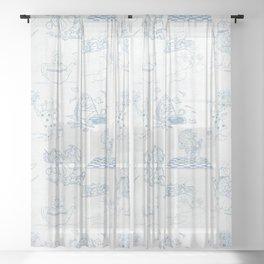 Alice in Wonderland Toile Blue Sheer Curtain