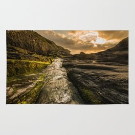 Trebarwith strand sunset Rug