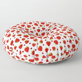 Summer Strawberries and Ladybugs Floor Pillow