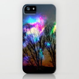 nebula in the naked trees iPhone Case
