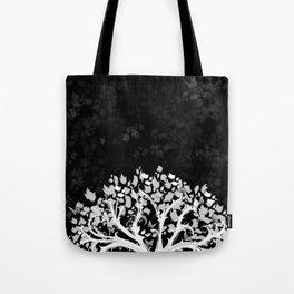 The Zen Tree - White on Black Tote Bag