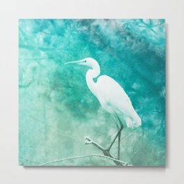 egret turquoise aesthetic wildlife art altered photography Metal Print