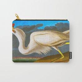 White Heron James Audubon Vintage Scientific Illustration American Birds Carry-All Pouch