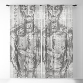 Strategy - Charcoal on Newspaper Figure Drawing Sheer Curtain