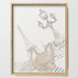French Bulldog Photobomb in Paris with Eiffel Tower Serving Tray