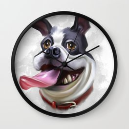 Funny dog digital painting Wall Clock