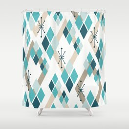 Mid Century Modern Diamonds (Teal) Shower Curtain