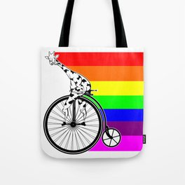 Giraffe riding a bike lgbq Tote Bag