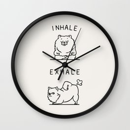 Inhale Exhale Pomeranian Wall Clock
