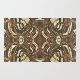 Neo-Tribal Woodwork Mandala Print Rug