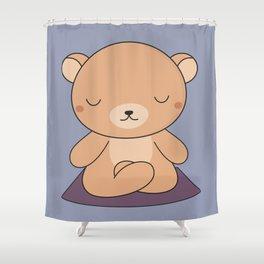 Kawaii Cute Yoga Bear Shower Curtain