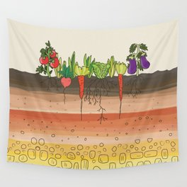 Earth soil layers vegetables garden cute educational illustration kitchen decor print Wall Tapestry