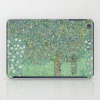 gustav klimt iPad Cases featuring Gustav Klimt - Rosebushes under the Trees by TilenHrovatic