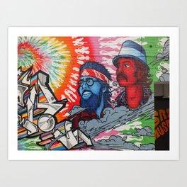 Cheech and Chong grafitti alley Queen Street flower power haze Art Print