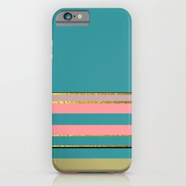 Teal With Pink And Gold iPhone Case