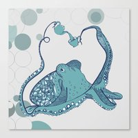 octopus Canvas Prints featuring Octopus ! by Clare Corfield Carr
